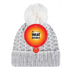 Ladies feathered knit pom pom hat lund grey/cream
