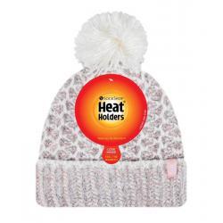 Ladies feathered knit pom pom hat lund coral/cream